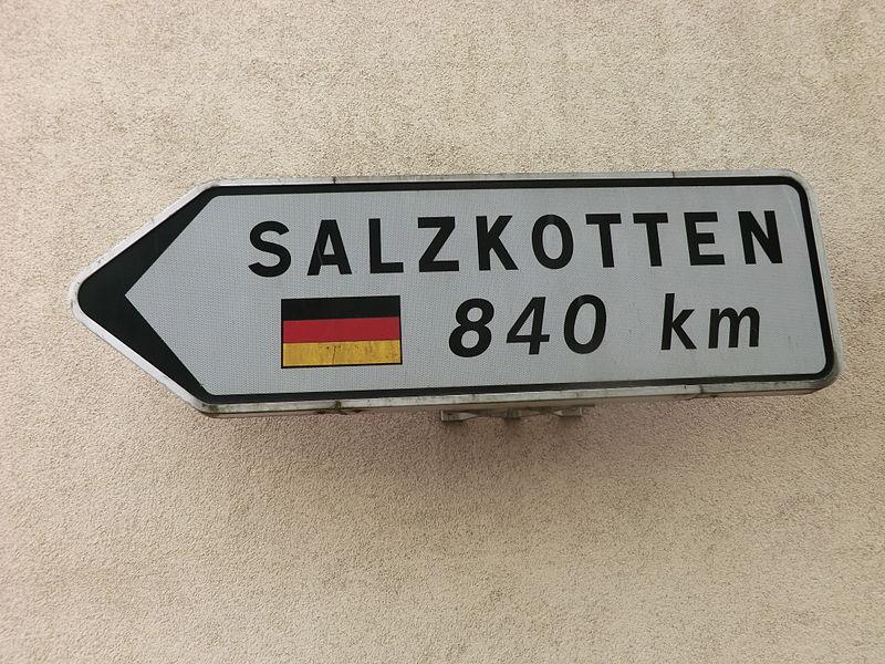 Panneau Salzkotten à Belleville (ville jumelée).