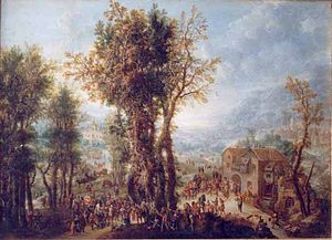 Paolo Alboni - Folk Party near a Mill (1713), oil on copper, in the collection of the Brukenthal National Museum