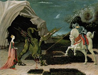 Paolo Uccello - Saint George and the Dragon (c. 1470), showing Uccello's Gothic influences