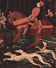 Greyhounds unleashed in Paolo Uccello's Night hunt (Ashmolean Museum)