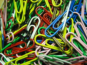 A bulk of paper-clips in several colors