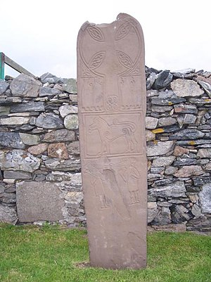 West Burra - Replica of the Papil Stone dating from 2000. The original (from 700 AD) is in the National Museum of Scotland.