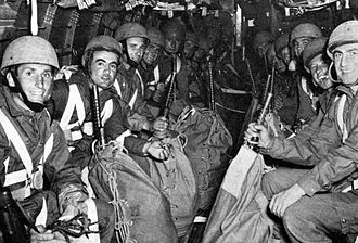 Operation Herring - Italian parachutists en route to the drop zone of Operation Herring