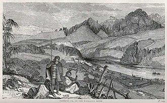 Parikino - Parikino pā, on the Whanganui River, after a sketch by Rev. Richard Taylor