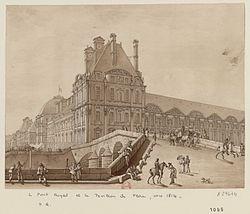gravure de 1814, montrant le Pavillon de Flore, le palais des Tuileries et les quais de la Seine