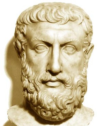 Parmenides - Bust of Parmenides discovered at Velia, thought to have been partially modeled on a Metrodorus bust.