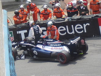 2012 Monaco Grand Prix - Pastor Maldonado was one driver who had to retire following the accident in the first corner.