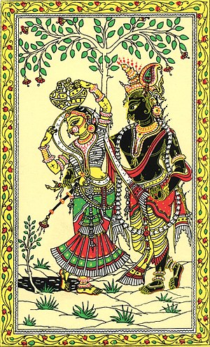 Pattachitra - Pattachitra depicting Radha-Krishna