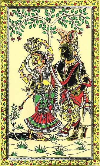 Pattachitra - Pattachitra depicting Radha-Krishna