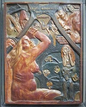 Soyez amoureuses vous serez heureuses - Soyez amoureuses vous serez heureuses, 1889, carved and polychromed wood. 95 x 72 x 6.4 cm. Museum of Fine Arts, Boston