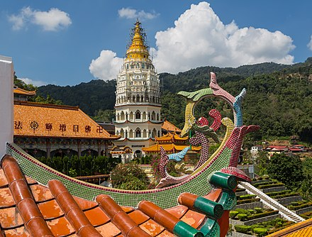 The Kek Lok Si Buddhist Temple on Penang Island combines Chinese, Thai and Burmese architectural influences. Penang Malaysia Kek-Lok-Si-Temple-03.jpg