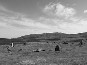 Penmaenmawr - The Meini Hirion or Druid's Circle, with Tal-y-Fan in the background