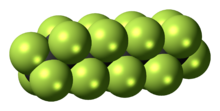 Space-filling model of perfluorooctane