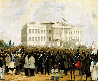 Opposition Party (Hungary) - Revolutionary crowd in front of the Hungarian National Museum on 15 March 1848