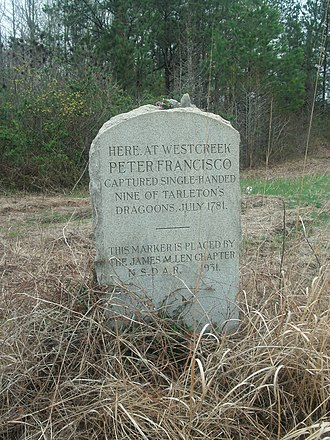 Francisco's Fight - DAR marker at the site of Francisco's Fight, erected in 1931.