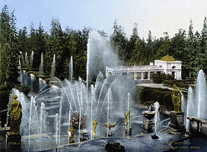 Peterhof View on Big cascade from top terrace 1890-1900.jpg