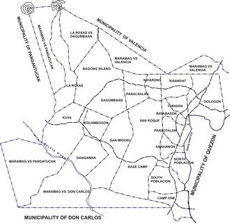 Maramag, Bukidnon - Political map of Maramag, showing its 20 barangays