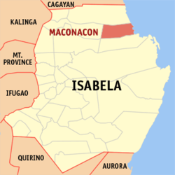 Map of Isabela with Maconacon highlighted