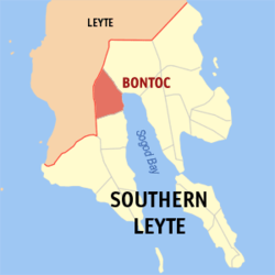 Map of Southern Leyte showing the location of Bontoc