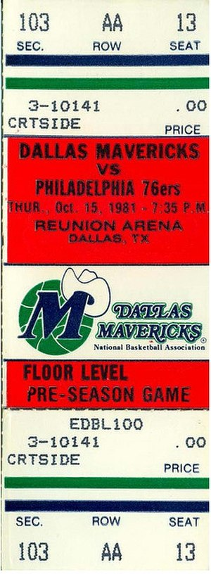1981–82 NBA season - A ticket for an October 1981 pre-season game between the Dallas Mavericks and the season's eventual Eastern Conference champions Philadelphia 76ers.