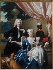 Portrait of Johan Frederik van Friesheim (1685-1747), Marie Aimée van Friesheim-de Rapin de Thoyras (1716-1800) and their son Johan Frederik (Godfried) van Friesheim (1738-1776) with a Black page