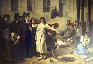 History of psychiatric institutions - Dr. Philippe Pinel at the Salpêtrière, 1795 by Tony Robert-Fleury. Pinel ordering the removal of chains from patients at the Paris Asylum for insane women.