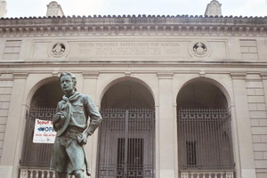 Scout councils (Boy Scouts of America) - The Ideal Scout, a statue by R. Tait McKenzie in front of the Bruce S. Marks Scout Resource Center in the Cradle of Liberty Council in Philadelphia