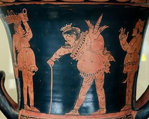 Sicilian vase painting - Phlyax scene on a krater by the Dirce Painter, circa 360/340 BC. Madrid: National Archaeological Museum of Spain.