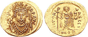 Phocas - Phocas wearing consular uniform on a coin