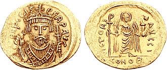 Phocas - Phocas wearing consular uniform on a coin