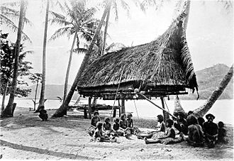 Headhunting - Human skulls in a tribal village. Mainland of the British New Guinea in 1885.