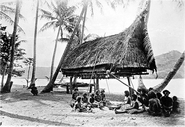 Black a white photograph of a thatched hut raised to head height among scattered trees on a beach.  Two small groups of people sit in the foreground.  Land can be seen on in the background, across the water.