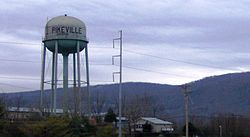 Pikeville, with the Cumberland Plateau rising in the distance