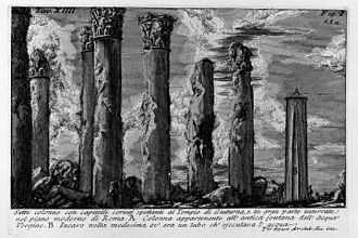 Temple of Matidia - 18th century engraving of columns, possibly from the Temple of Matidia.