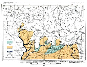 Lake Chicago - Map of Glacial lakes Whittlesey, Sagniaw and Chicago, based on the USGS Report of 1915