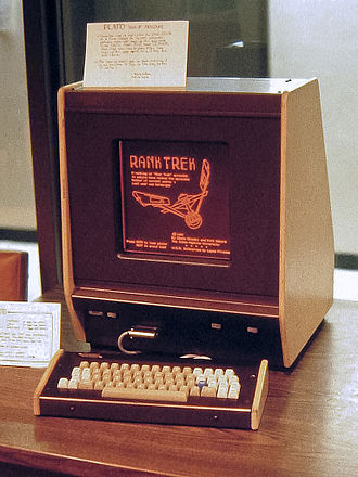 PLATO (computer system) - A PLATO V terminal in 1981, displaying RankTrek application, one of the first to combine simultaneous local microprocessor-based computing with remote mainframe computing. The monochromatic plasma display's characteristic orange glow is illustrated. Infrared sensors mounted around the display watch for a user's touch screen input.