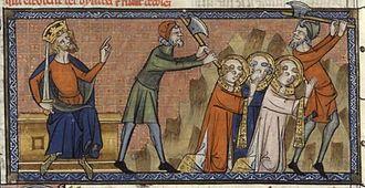 Pope Sixtus II - Martyrdom of Saint Sixtus II, 14th century