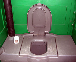 Inside view of a portable toilet. Baghdad, Ira...