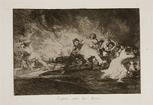 The Disasters of War - Plate 41: Escapan entre las llamas (They escape among the flames). Men and women some carrying each other run into the night, amidst chaos and terror.