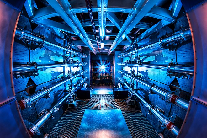The preamplifiers of the National Ignition Facility. In 2012, the NIF achieved a 500-terawatt shot. Preamplifier at the National Ignition Facility.jpg