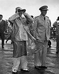 President Harry S. Truman and Admiral Arthur Radford at Nu'uanu Pali Lookout, Oahu, Hawaii.jpg
