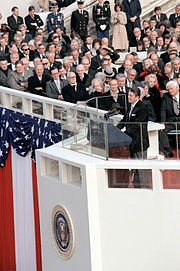 President Reagan delivers his first inaugural address