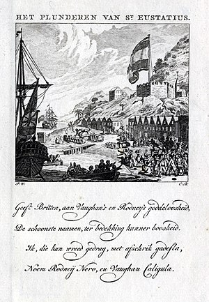 Capture of Sint Eustatius - The looting of the island causing great excitement. Rodney is called Nero and General Vaughan was compared to Caligula. (Dutch engraving)