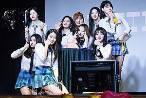 Pristin at a fanmeeting on March 21, 2018.jpg
