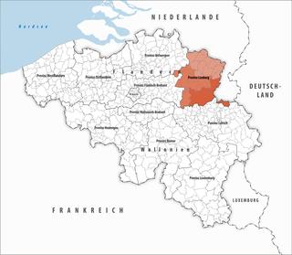 Lage der Provinz Limburg innerhalb Belgiens hervorgehoben