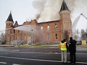 Provo Tabernacle - Provo Tabernacle gutted by fire on 17 Dec 2010