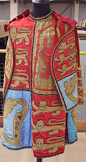 short sleeveless or short-sleeved garments consisting of front and back panels and open at the sides, often for heraldic display