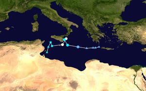 Cyclone Qendresa - Image: Qendresa 2014 track