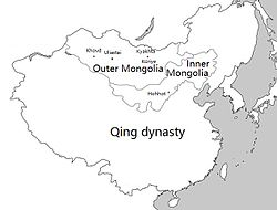 Location of Mongolia under Qing rule