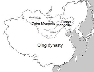 Mongolia under Qing rule - Outer Mongolia and Inner Mongolia within the Qing Empire, c. 1820.